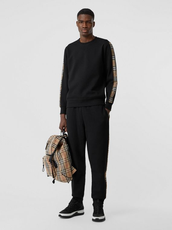 Vintage Check Panel Jersey Sweatshirt in Black