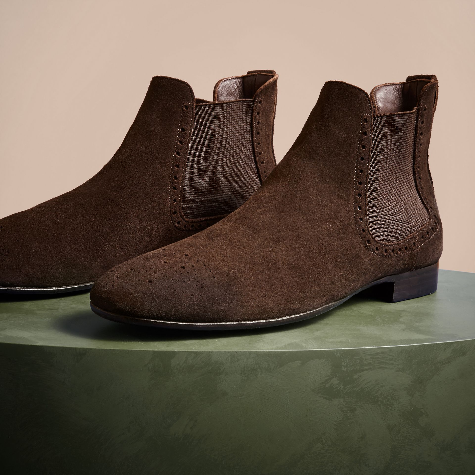 Peat brown Washed-suede Chelsea Boots with Leather Soles - gallery image 3