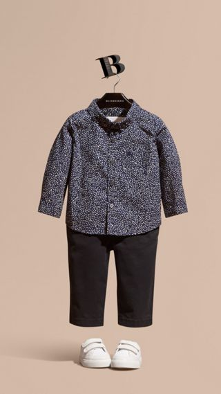 Button-down Collar Spot Print Cotton Shirt