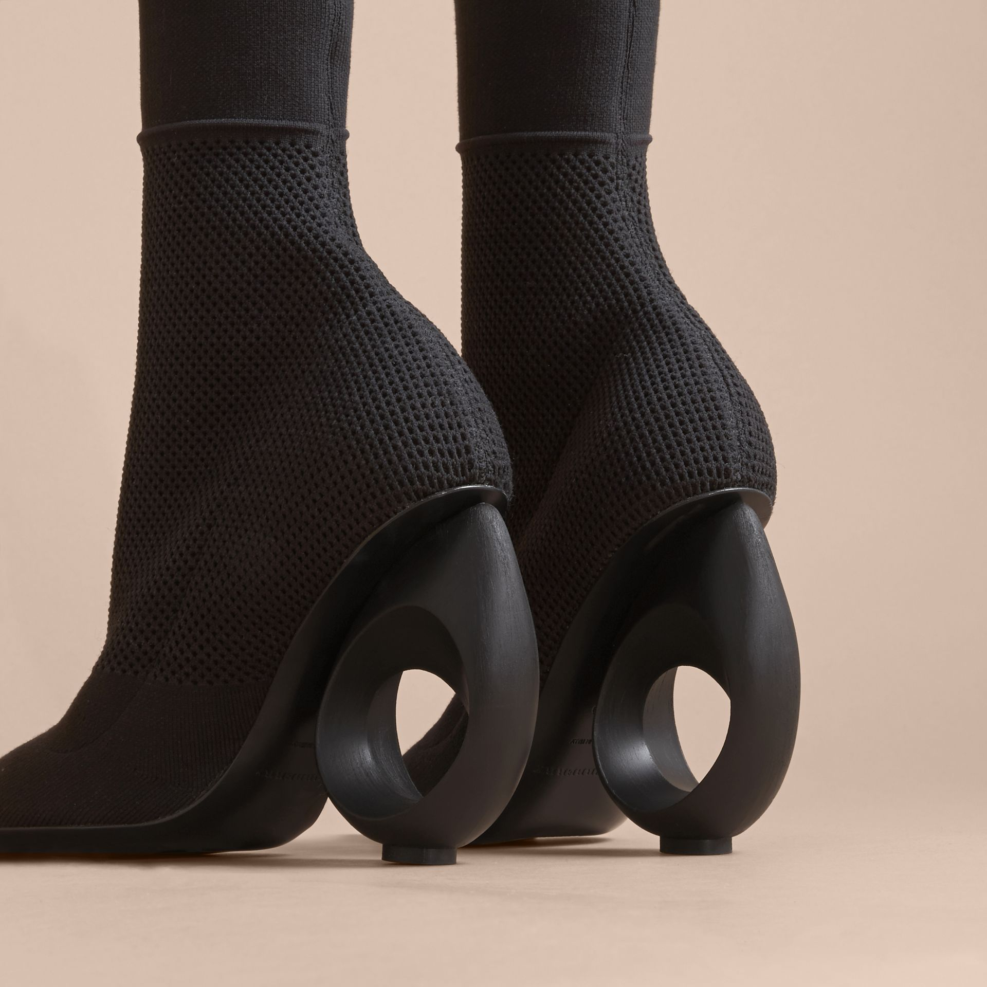 Mid-calf Knitted Boots with Sculpted Heel in Black - Women | Burberry - gallery image 5