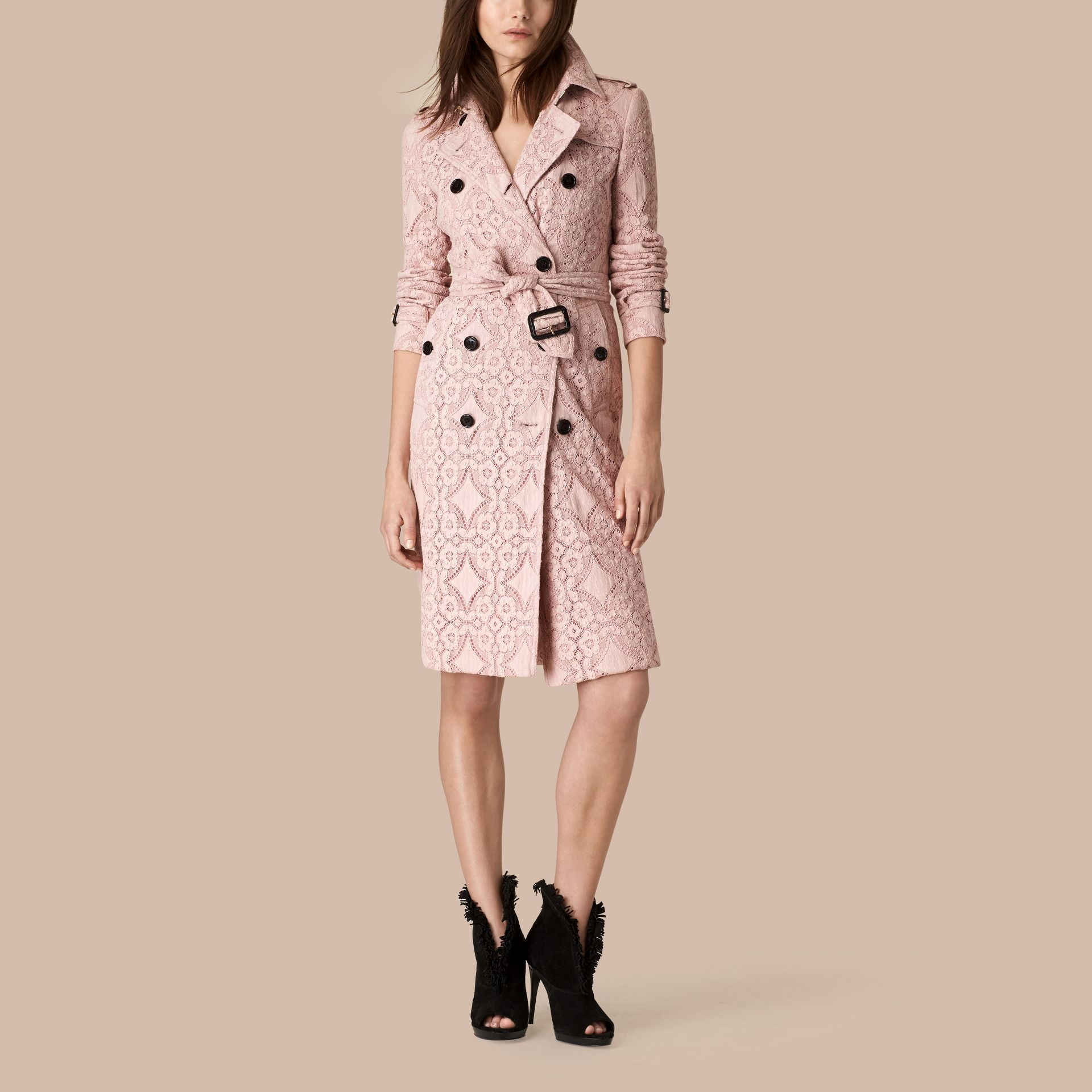 Thistle pink Gabardine Lace Trench Coat Thistle Pink - gallery image 1