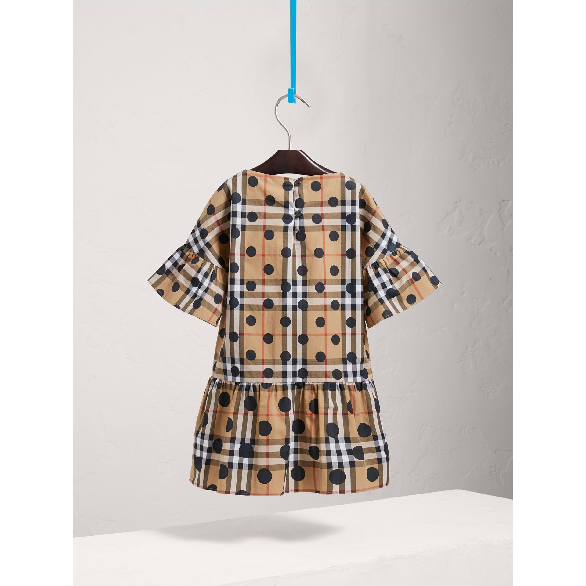 Gathered Polka-dot Check Cotton Dress in Navy - Girl | Burberry Australia - gallery image 3