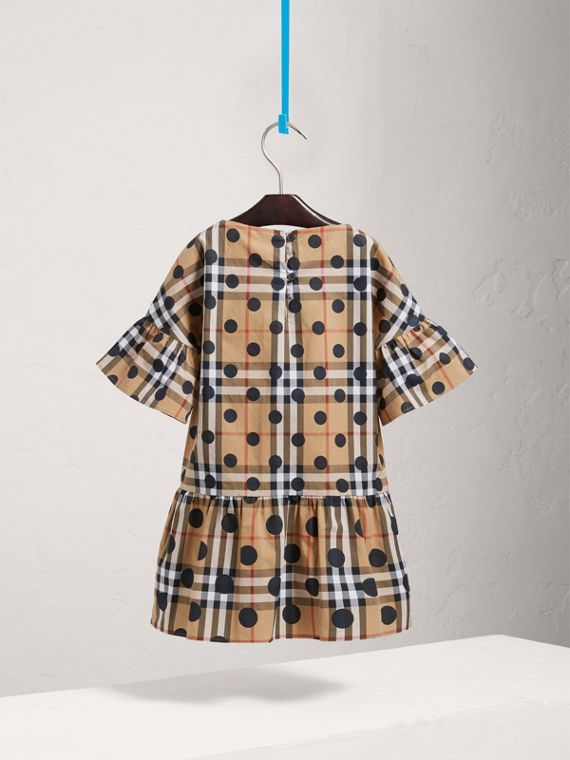 Gathered Polka-dot Check Cotton Dress in Navy - Girl | Burberry - cell image 3