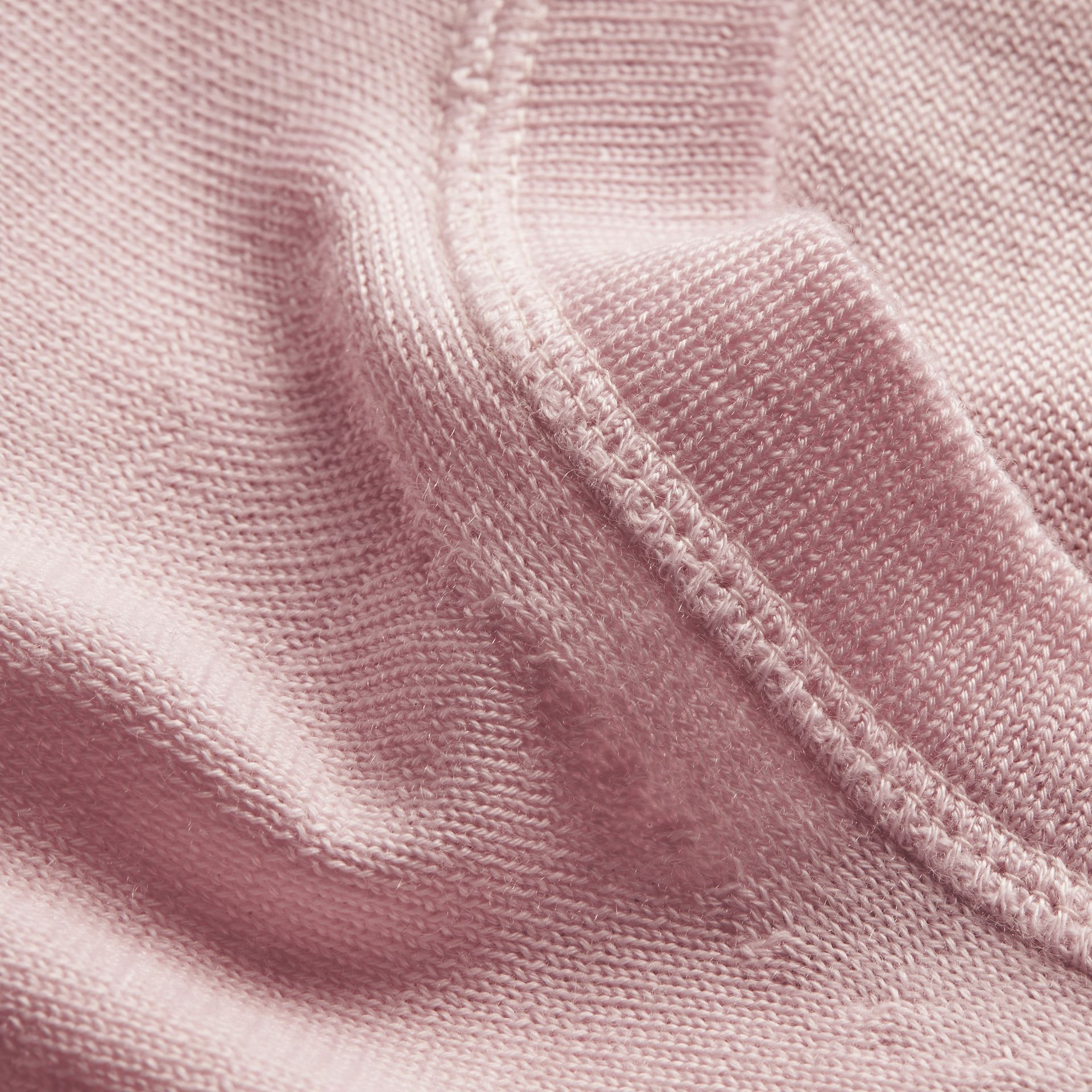 Crew Neck Cashmere Sweater in Light Pink - gallery image 2