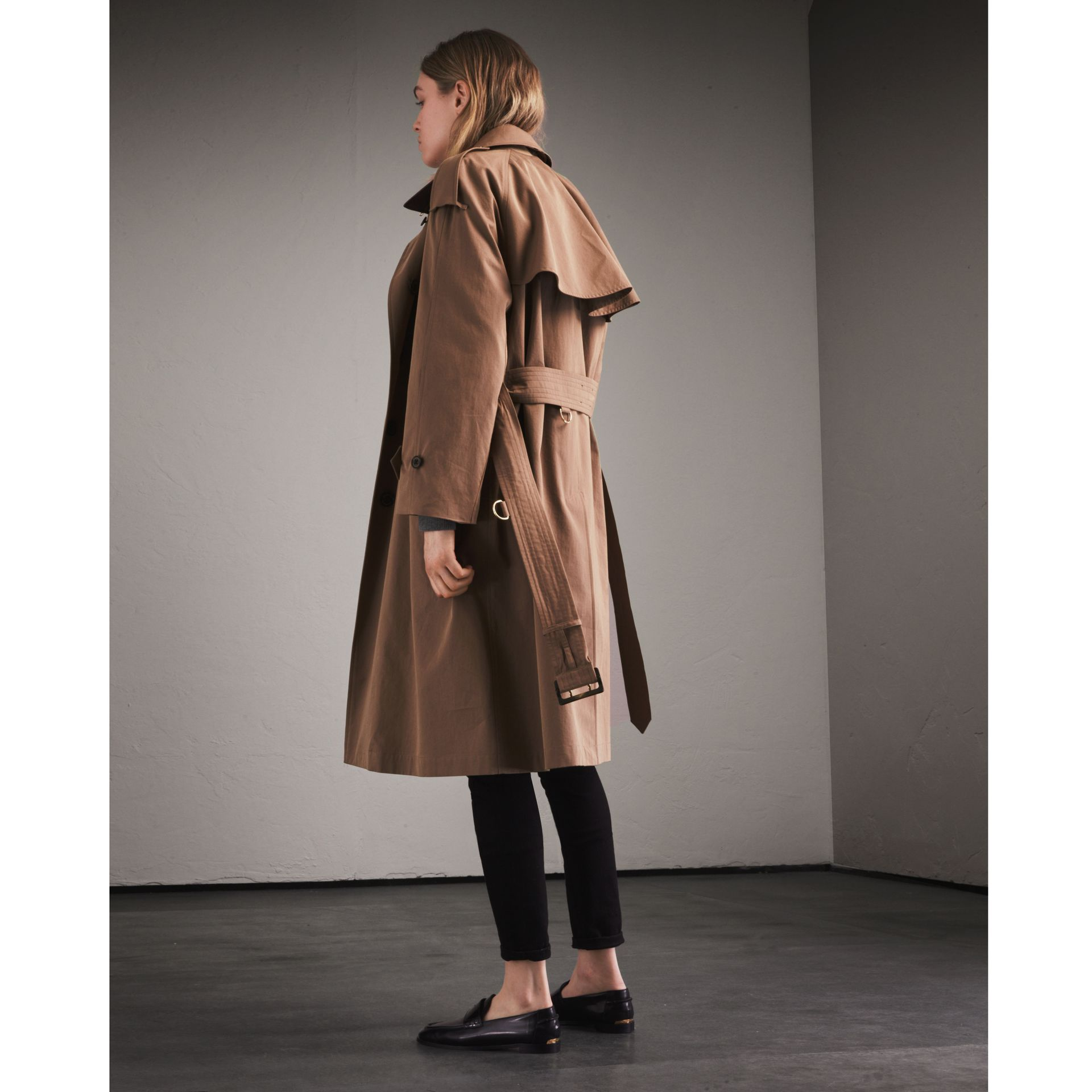 Taupe Tropical Gabardine Trench Coat - gallery image 3