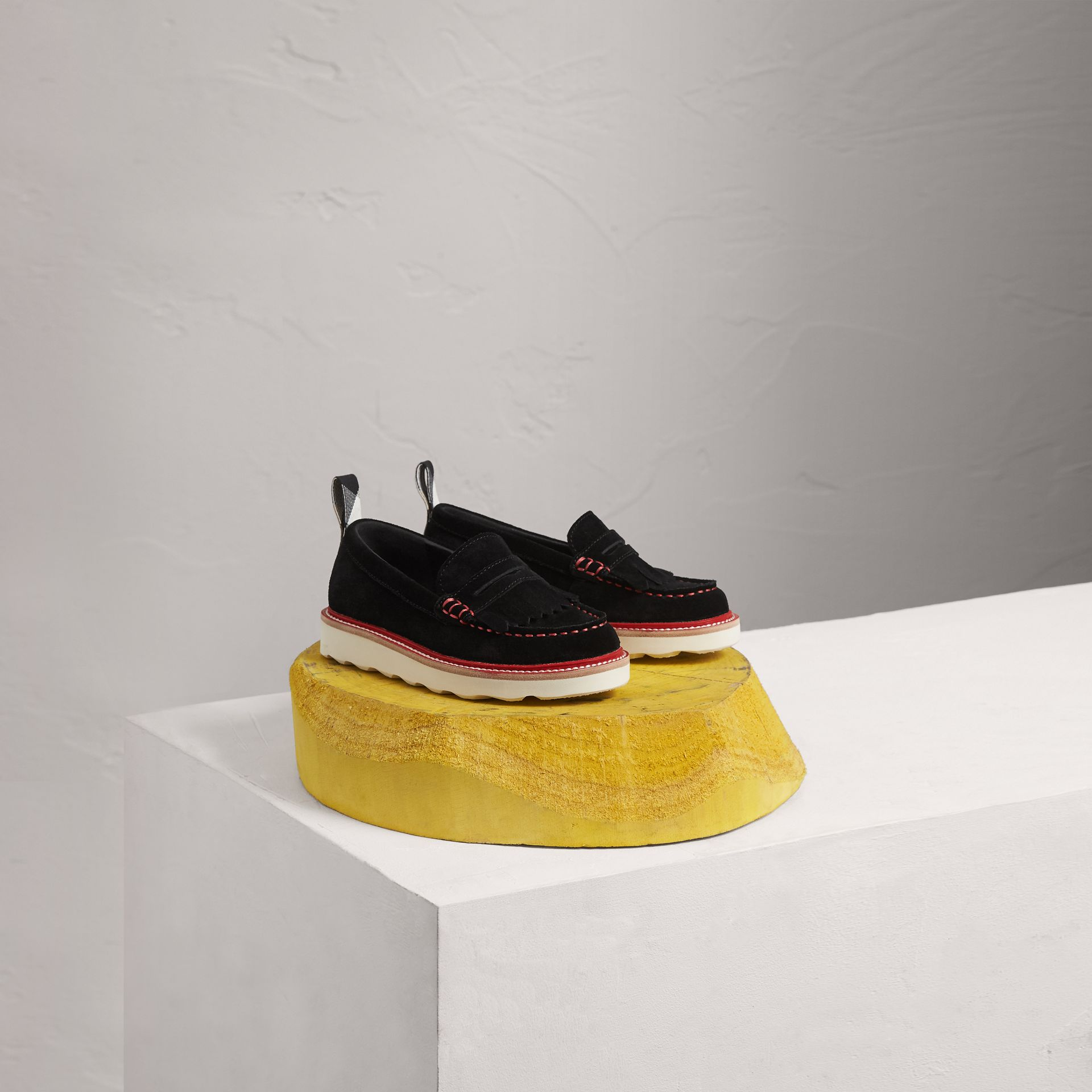 Two-tone Suede Penny Loafers in Black - Girl | Burberry Australia - gallery image 0