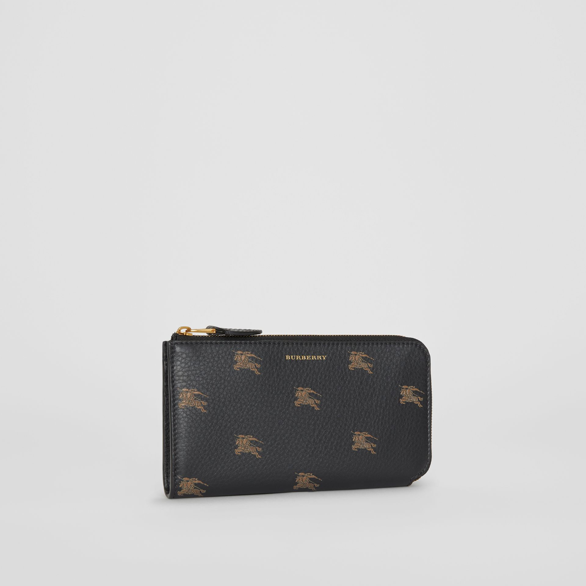 EKD Leather Ziparound Wallet and Coin Case in Black - Women | Burberry Australia - gallery image 5