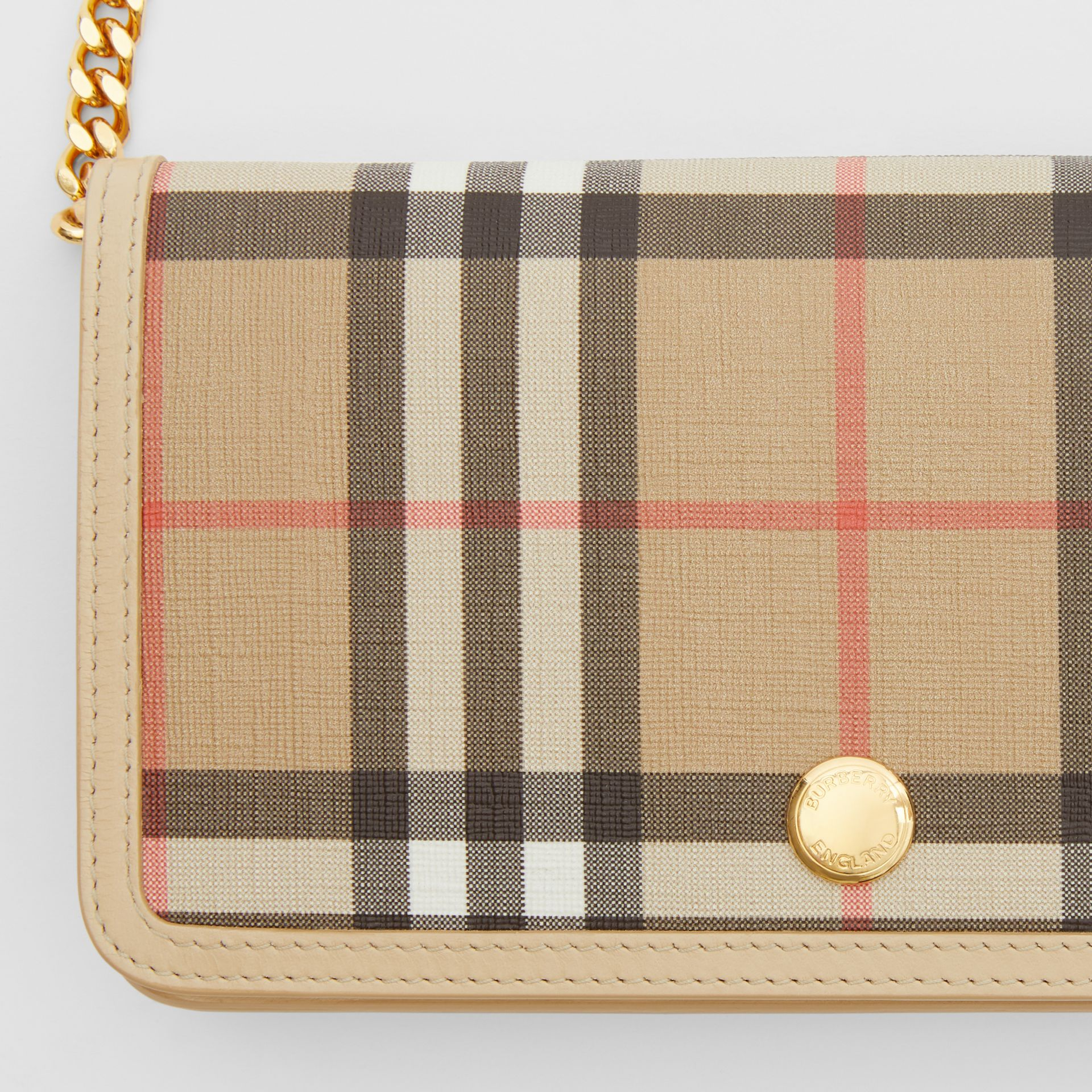 Vintage Check E-canvas Phone Wallet with Strap in Beige - Women | Burberry - gallery image 1