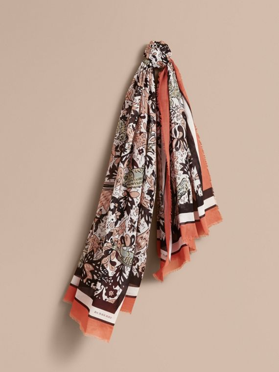 Beasts Print Lightweight Cotton Scarf in Antique Taupe Pink - Women | Burberry