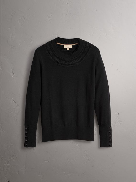 Cable Knit Yoke Cashmere Sweater in Black - Women | Burberry Singapore - cell image 3
