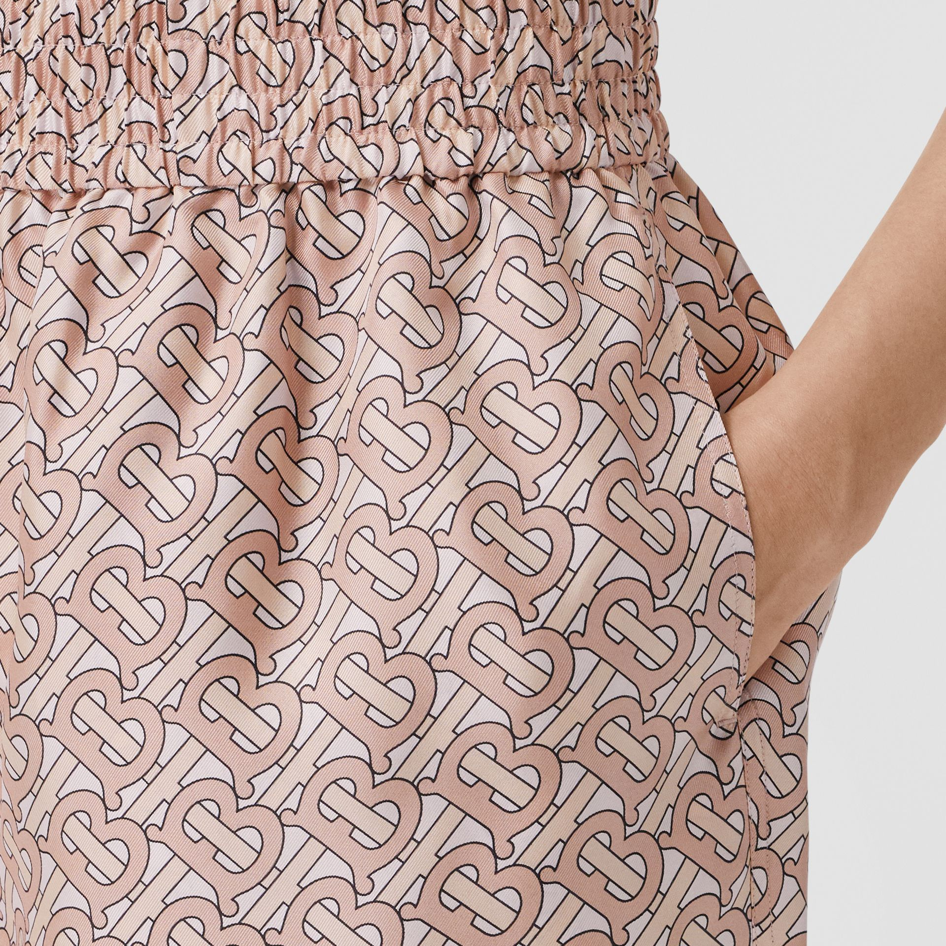 Monogram Print Silk Twill Shorts in Pale Copper Pink - Women | Burberry - gallery image 1