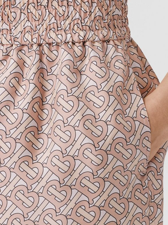 Monogram Print Silk Twill Shorts in Pale Copper Pink - Women | Burberry - cell image 1