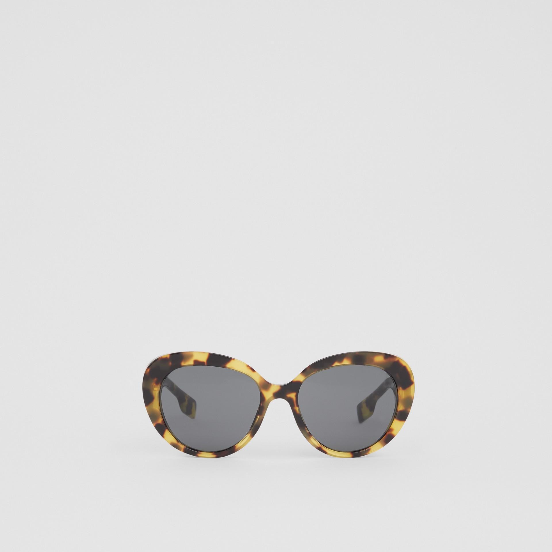 Monogram Motif Cat-eye Frame Sunglasses in Bright Tortoiseshell - Women | Burberry United Kingdom - gallery image 0