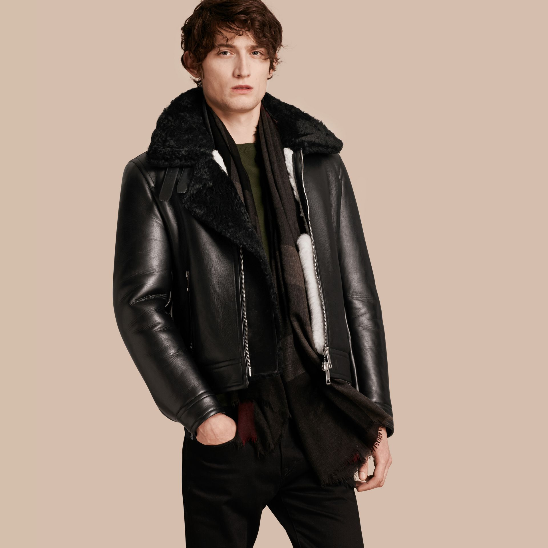 Black Lambskin and Shearling Aviator Jacket - gallery image 1