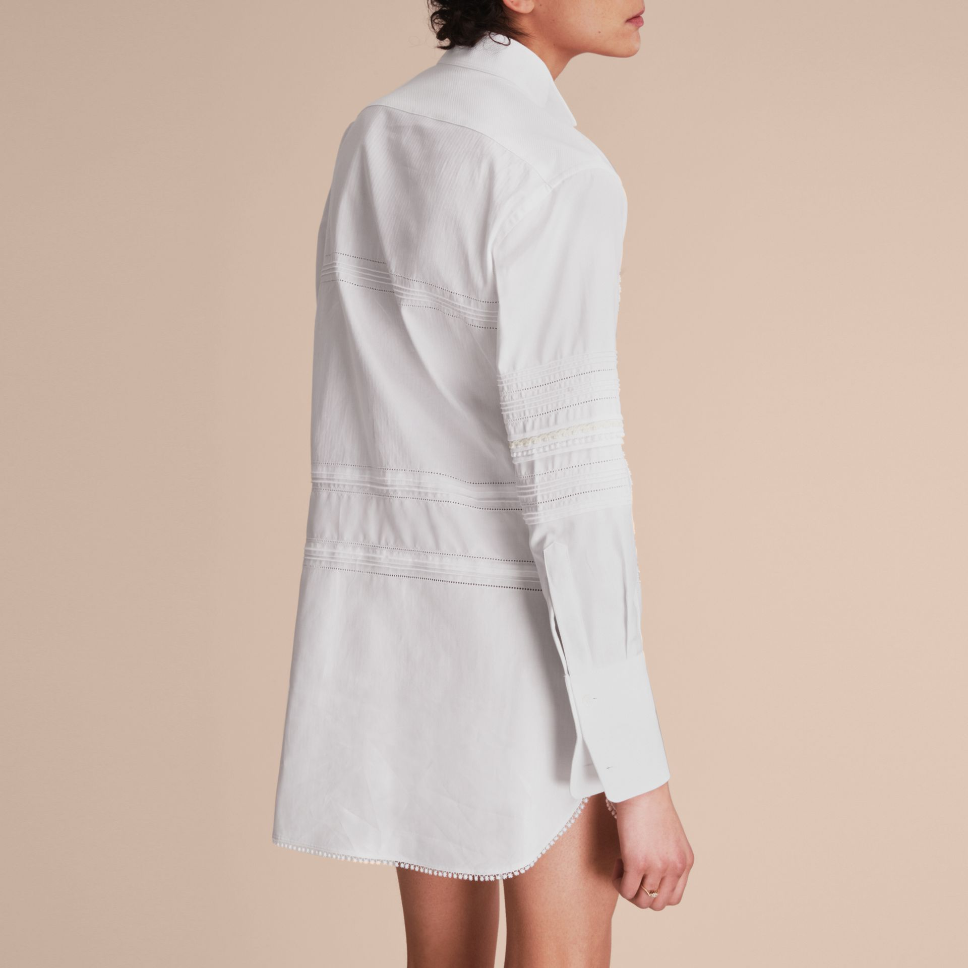 Cotton Shirt Dress with Pintucks and Macramé Trim - gallery image 3