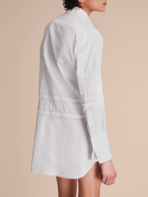 Pintuck and Macramé Trim Cotton Shirt Dress in White - Women | Burberry United Kingdom - cell image 2