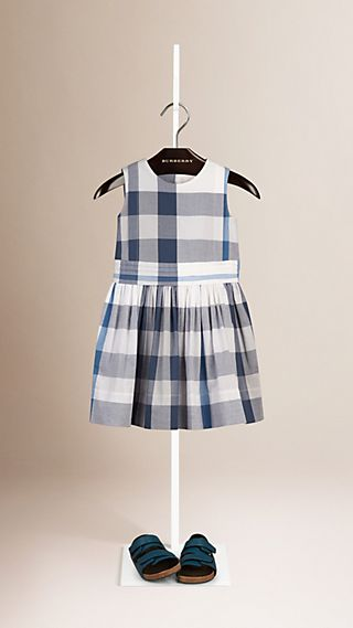 Sleeveless Check Cotton Dress
