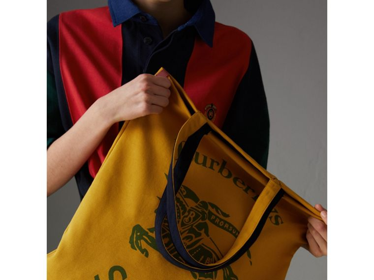 Large Archive Logo Jersey Shopper in Ochre Yellow | Burberry Australia - cell image 4
