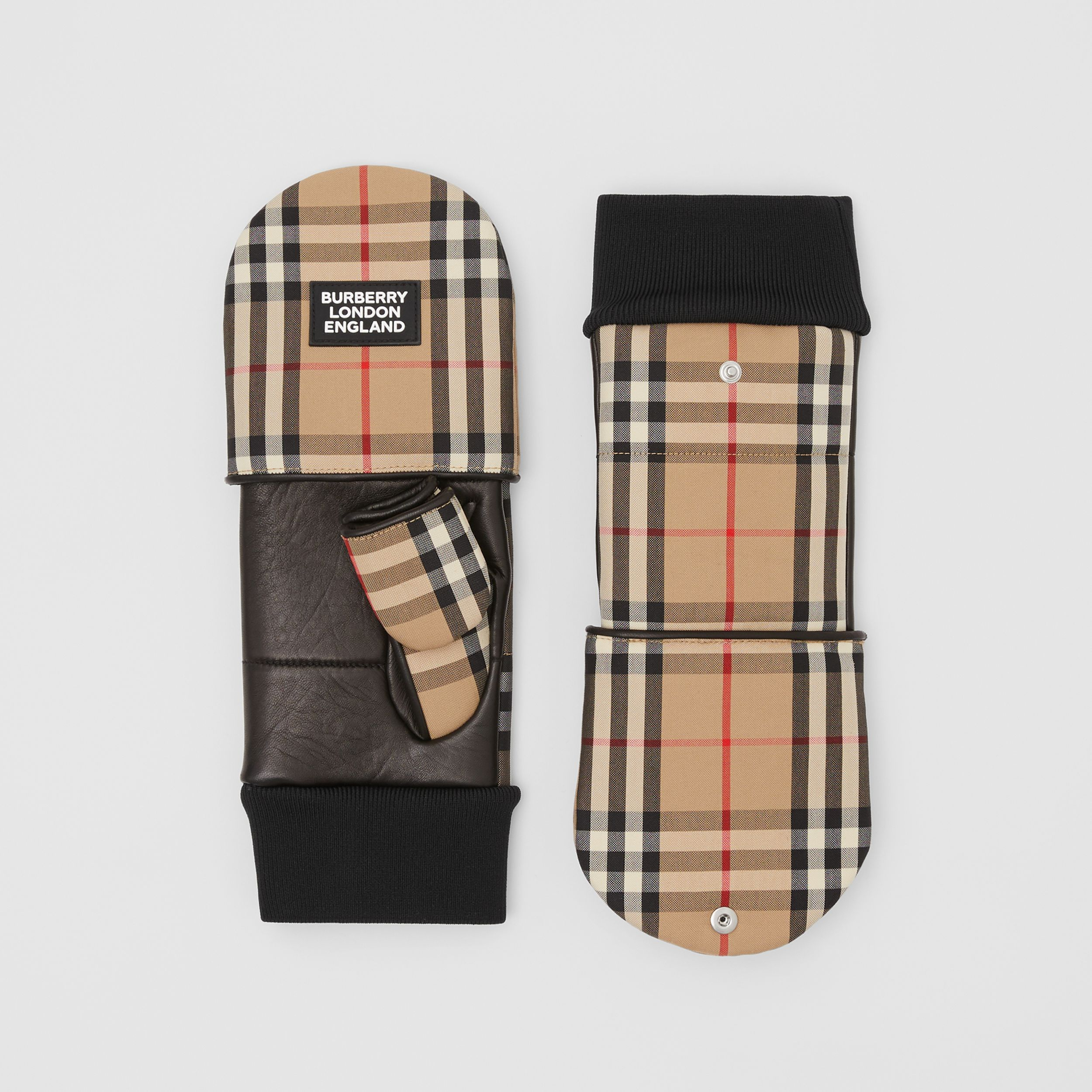 Logo Appliqué Lambskin and Vintage Check Mittens in Archive Beige | Burberry - 4