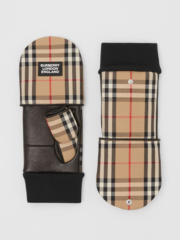 Logo Appliqué Lambskin and Vintage Check Mittens in Archive Beige | Burberry United Kingdom - cell image 3