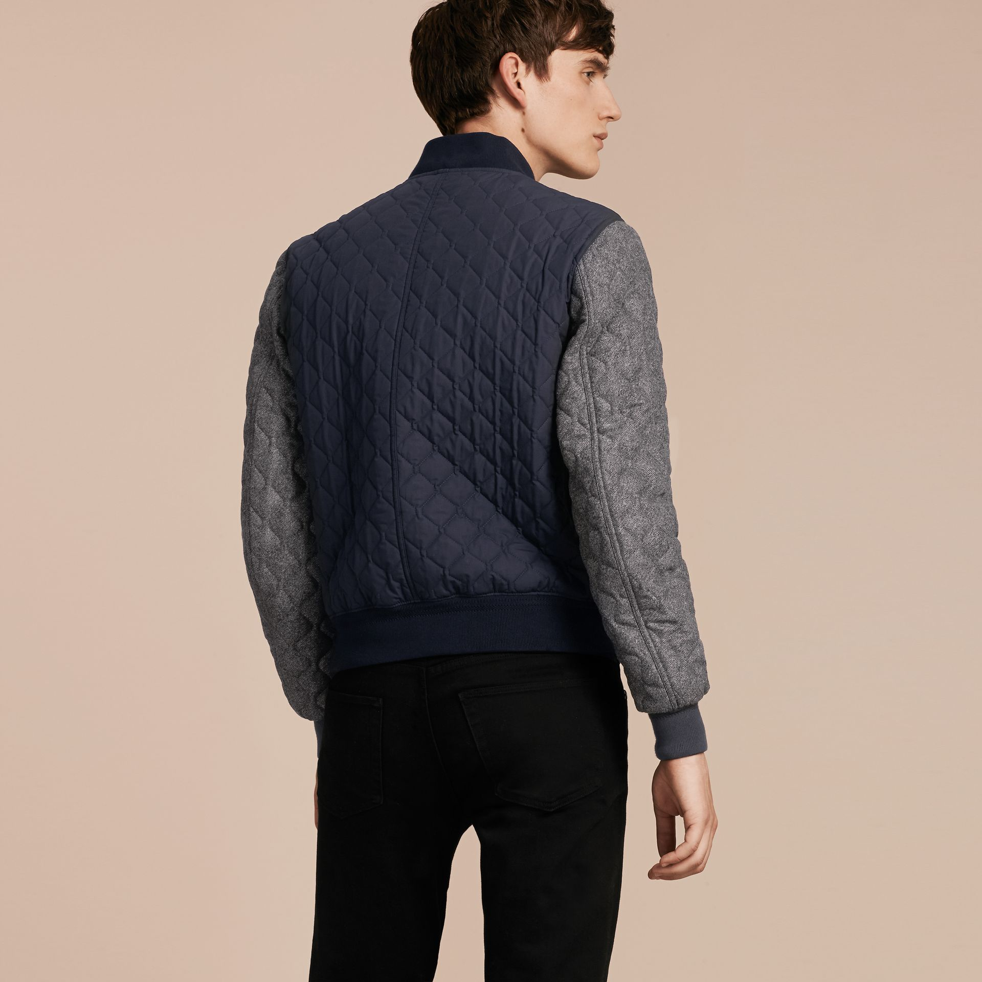 Navy Quilted Cotton and Wool Bomber Jacket - gallery image 3