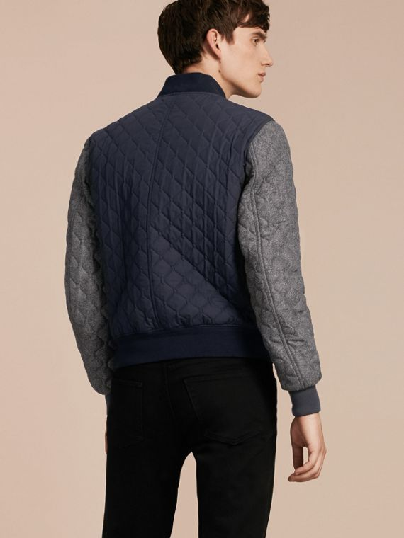 Navy Quilted Cotton and Wool Bomber Jacket - cell image 2