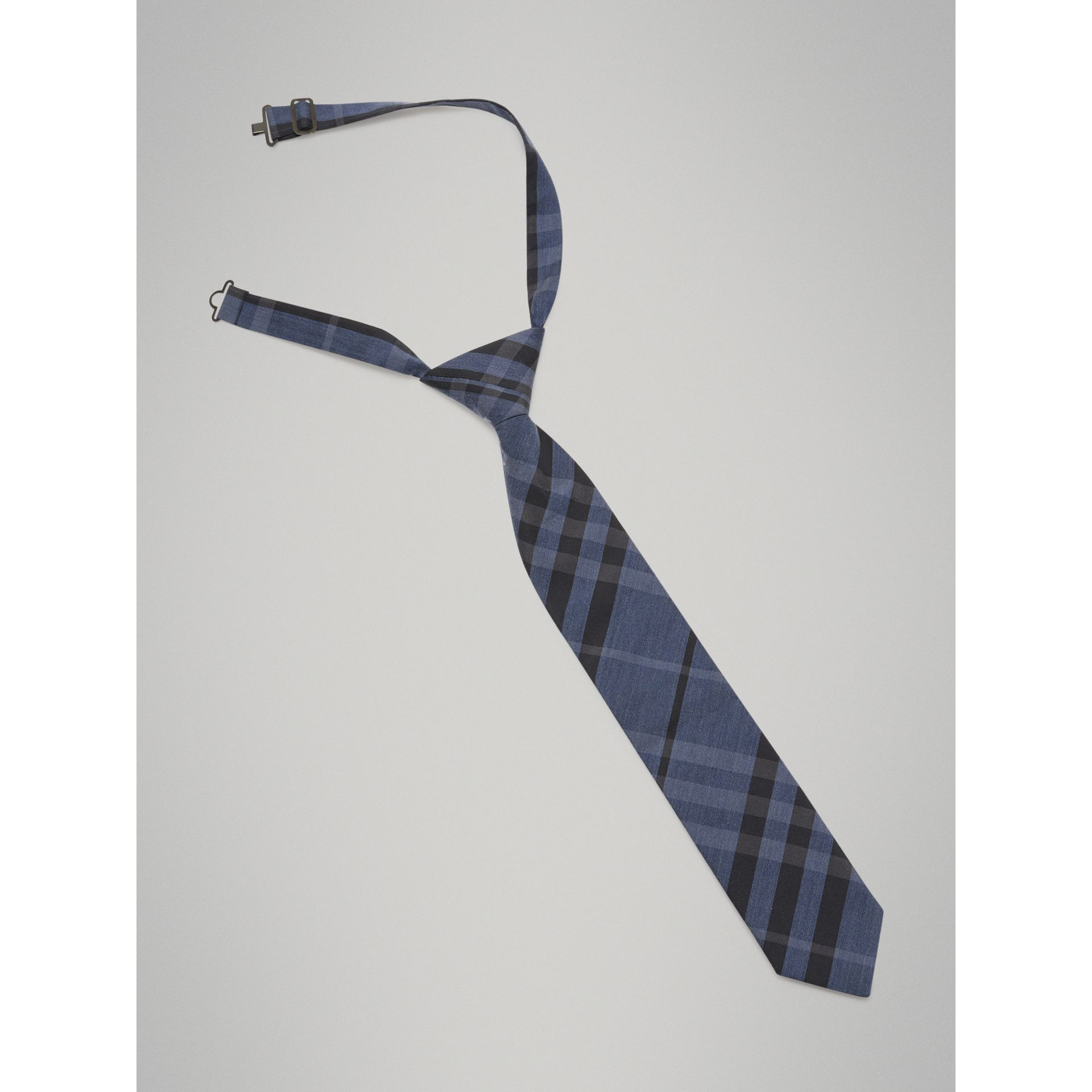 Modern Cut Check Silk Cotton Tie in Dark Mineral Blue - Boy | Burberry - gallery image 4