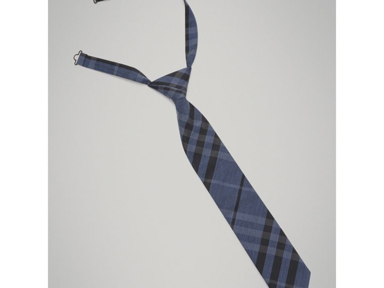 Modern Cut Check Silk Cotton Tie in Dark Mineral Blue - Boy | Burberry - cell image 4