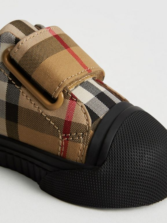 Vintage Check and Leather Sneakers in Antique Yellow/black - Children | Burberry - cell image 1
