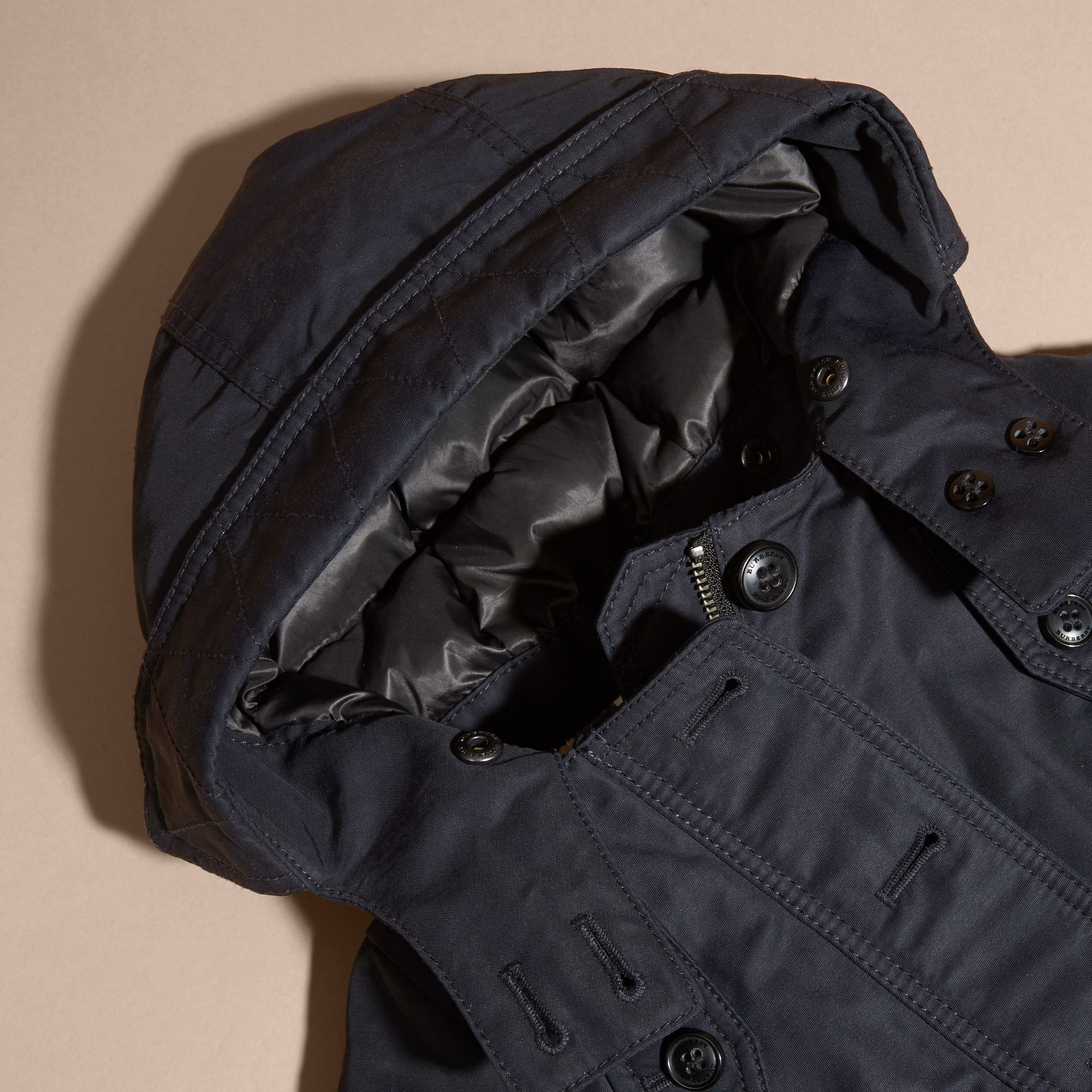 Navy Down-filled Coat with Detachable Hood Lining - gallery image 2