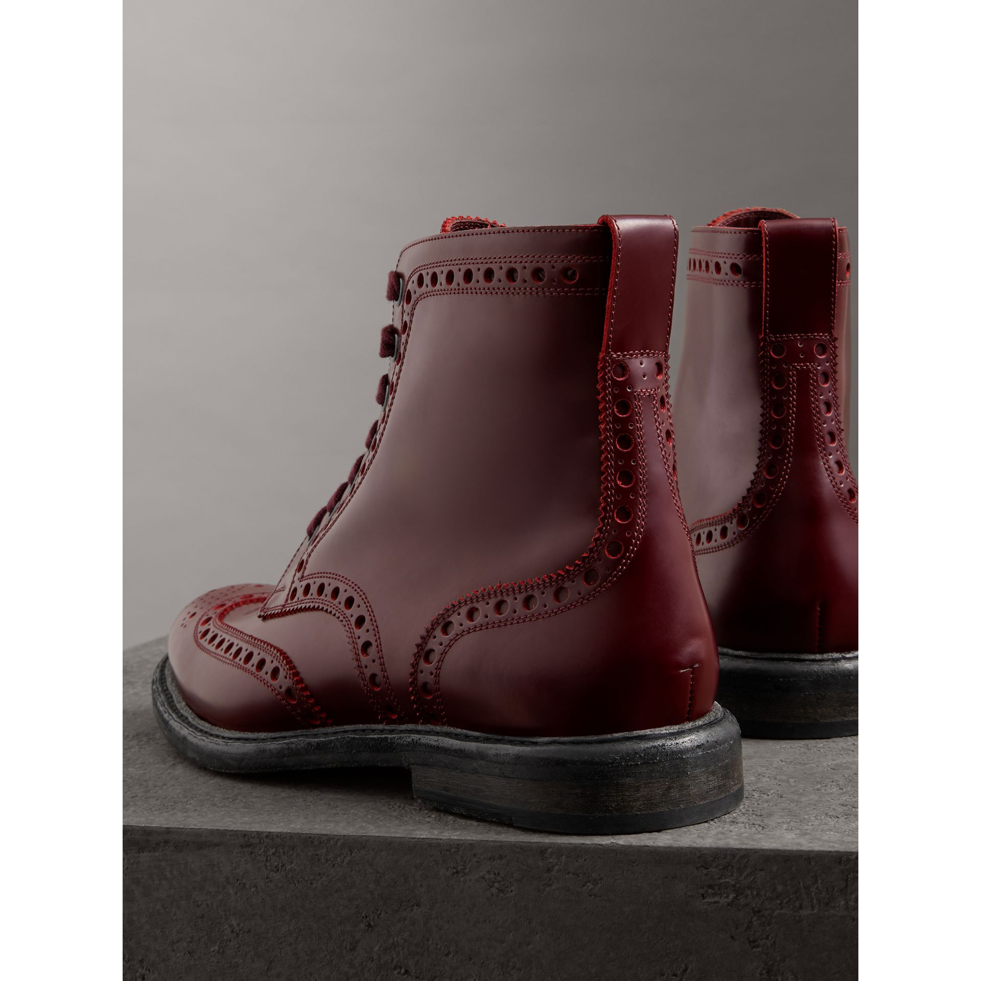 Brogue Detail Polished Leather Boots in Ebony Red - Men | Burberry - gallery image 3