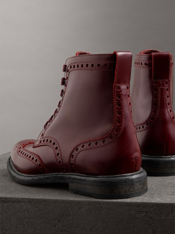 Brogue Detail Polished Leather Boots in Ebony Red - Men | Burberry Singapore - cell image 3