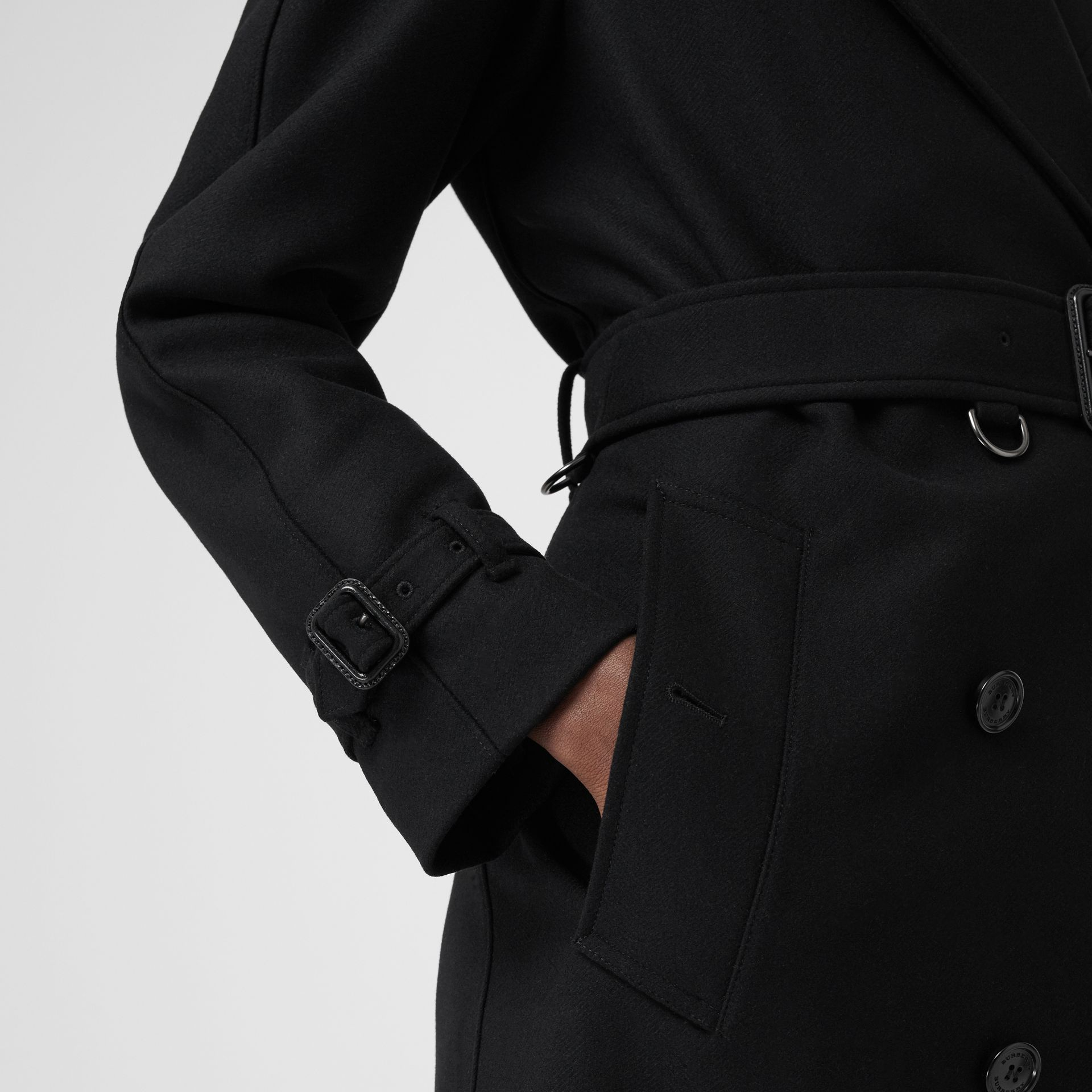 Herringbone Wool Cashmere Blend Trench Coat in Black - Women | Burberry - gallery image 4