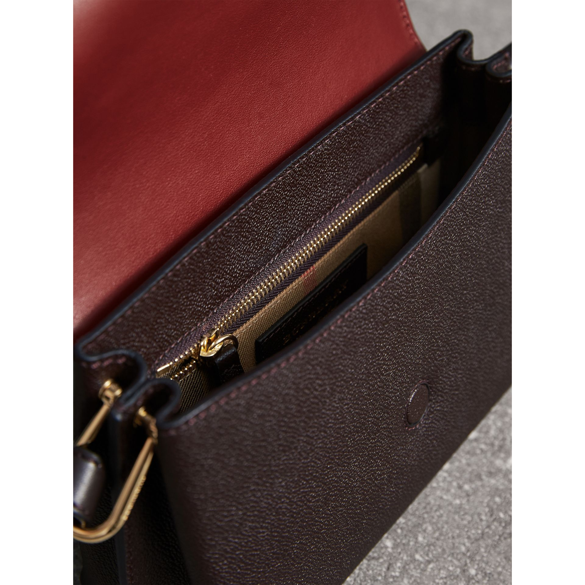 The Buckle Crossbody Bag in Colour-block Leather in Burgundy - Women | Burberry United States - gallery image 5