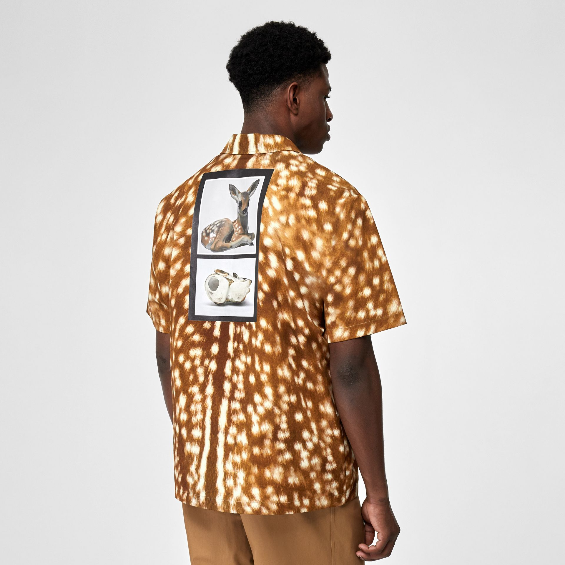 Short-sleeve Slogan Deer Print Cotton Shirt in Honey | Burberry - gallery image 2