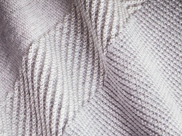 Check Merino Wool Silk Cotton V-neck Sweater in Pale Grey Melange - Women | Burberry Hong Kong - cell image 1