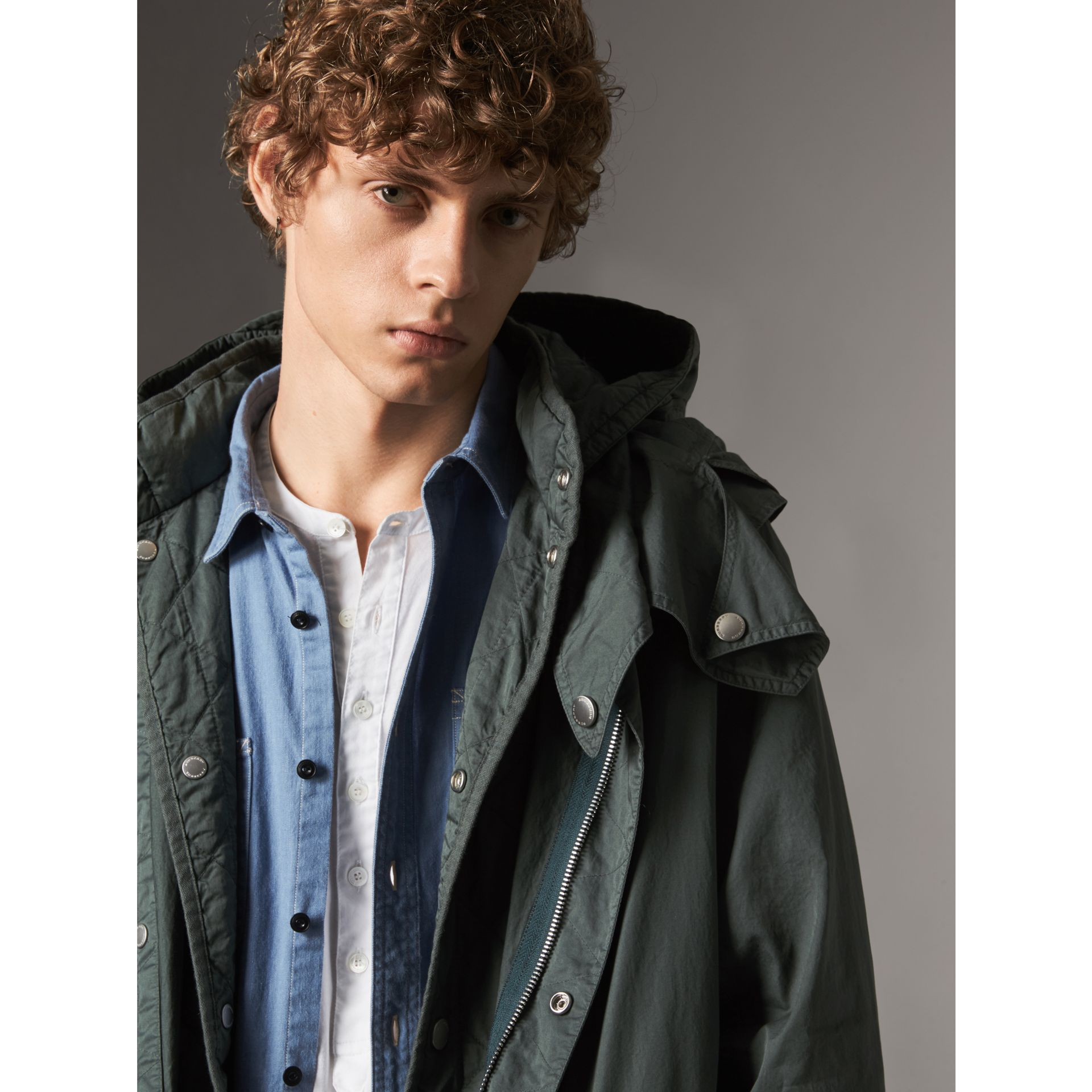 Detachable Hood Cotton Parka with Warmer in Smokey Green - Men | Burberry Hong Kong - gallery image 1