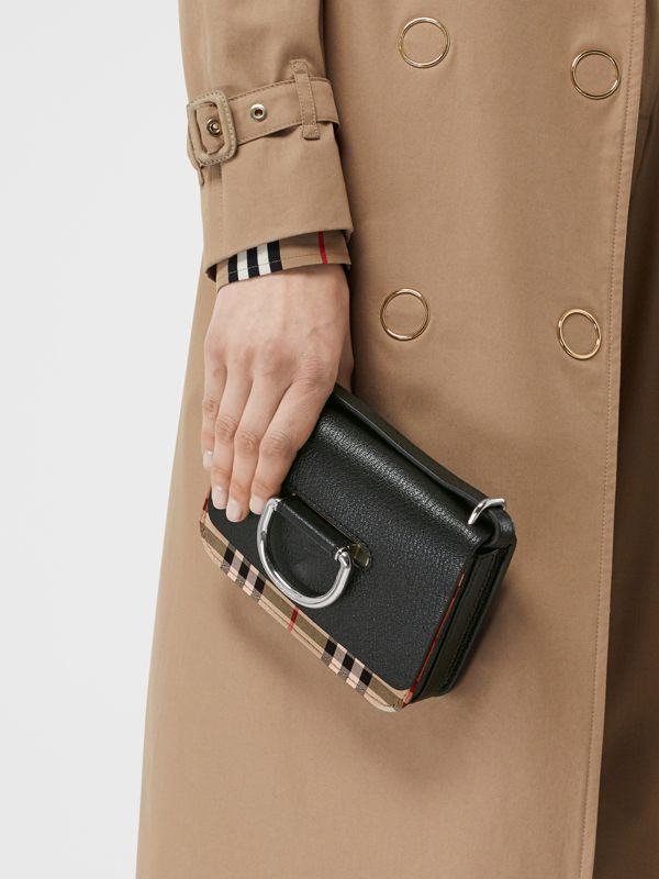 The Mini Vintage Check and Leather D-ring Bag in Black - Women | Burberry United Kingdom - cell image 2