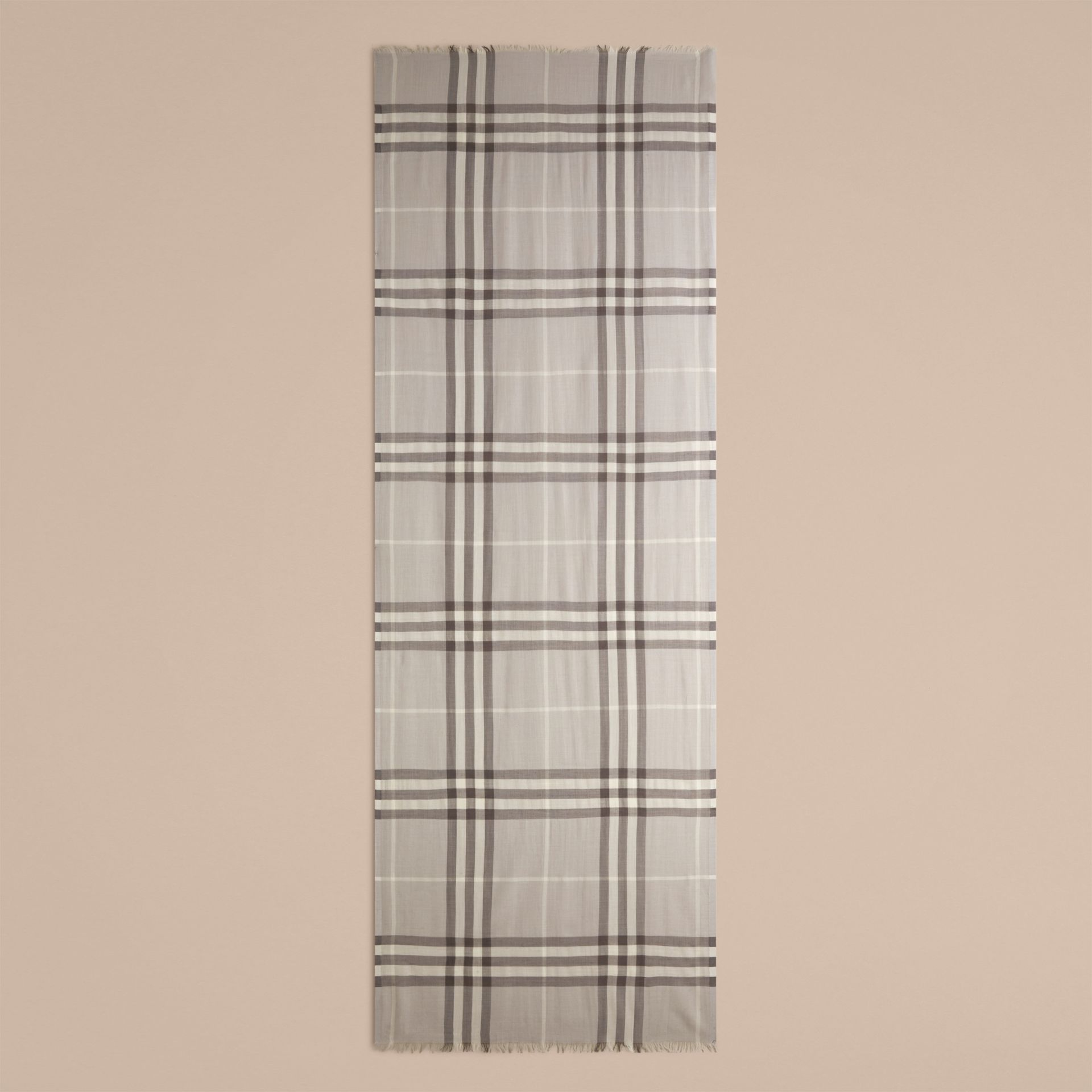 Pale grey Lightweight Check Wool and Silk Scarf Pale Grey - gallery image 4