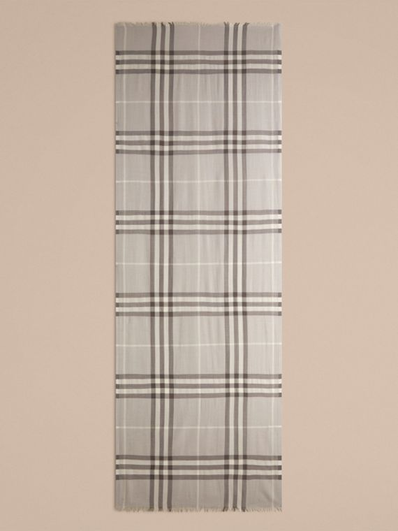 Pale grey Lightweight Check Wool and Silk Scarf Pale Grey - cell image 3