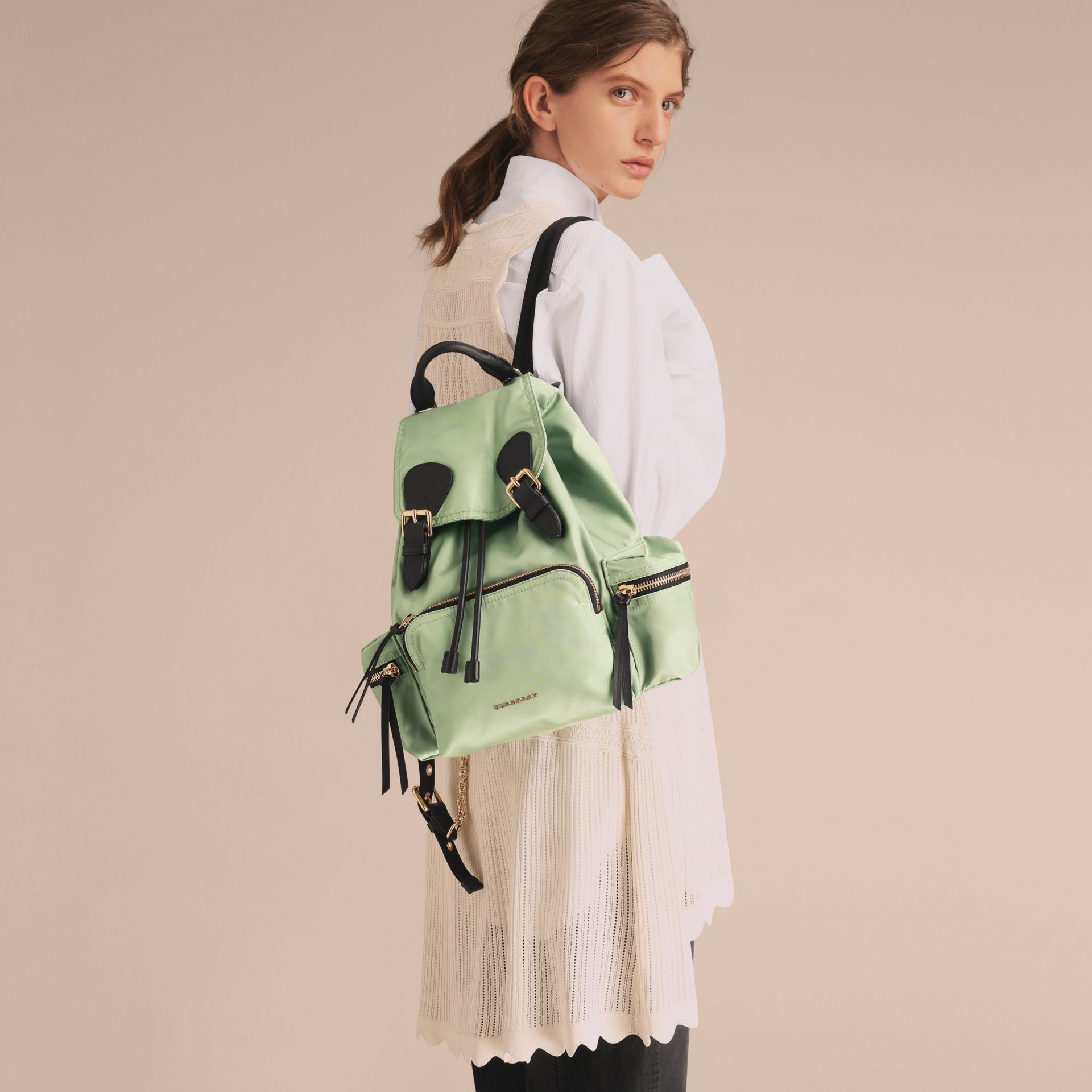 The Medium Rucksack in Technical Nylon and Leather in Apple Green - Women | Burberry - gallery image 3