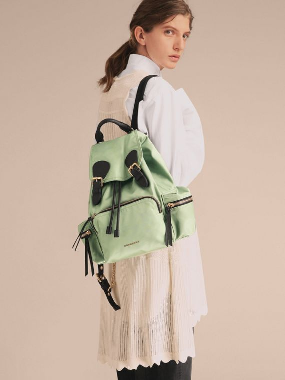 The Medium Rucksack in Technical Nylon and Leather in Apple Green - Women | Burberry Canada - cell image 2
