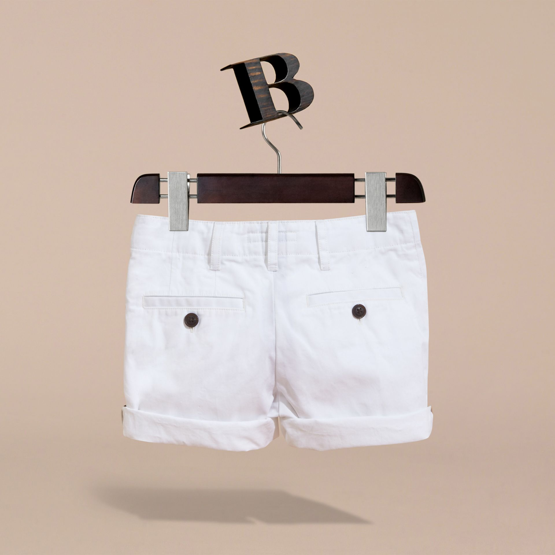 Check Detail Cotton Chino Shorts in White | Burberry - gallery image 4