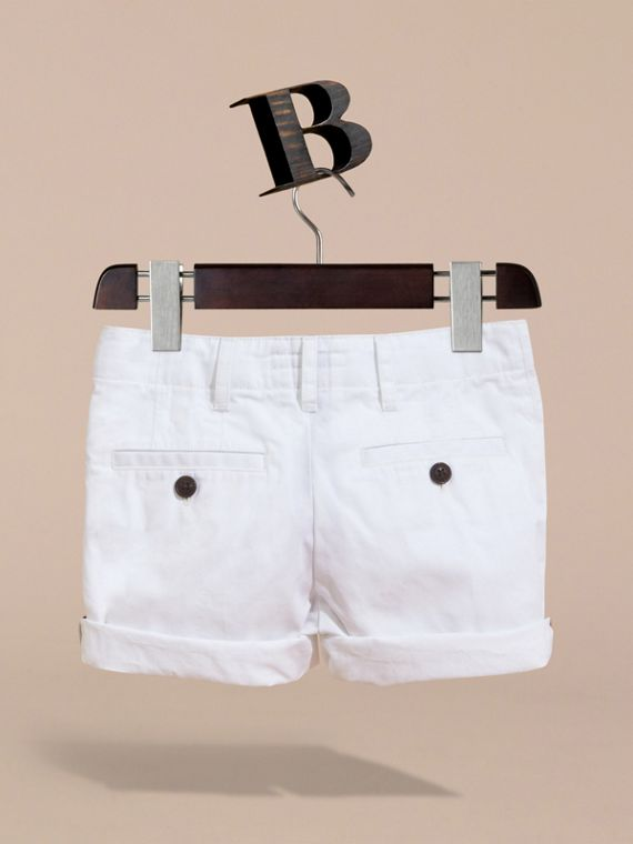 Check Detail Cotton Chino Shorts in White | Burberry - cell image 3