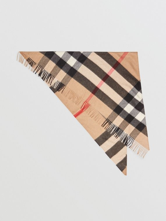 The Burberry Bandana in Check Cashmere in Camel 00677943112