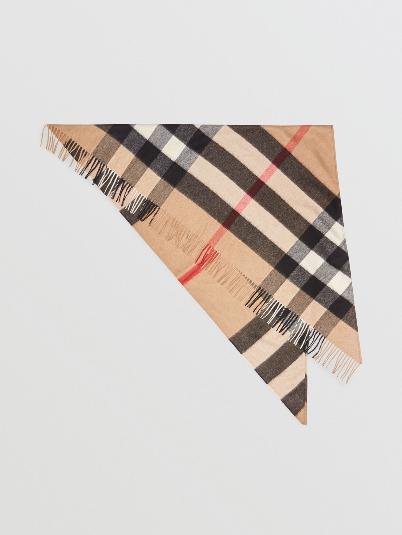 The Burberry Bandana in Check Cashmere in Camel