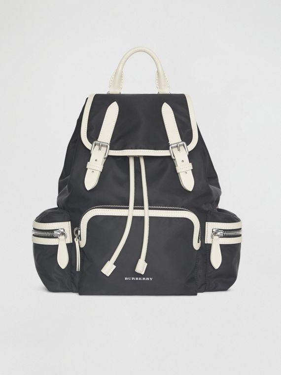 The Medium Rucksack in Technical Nylon and Leather in Black