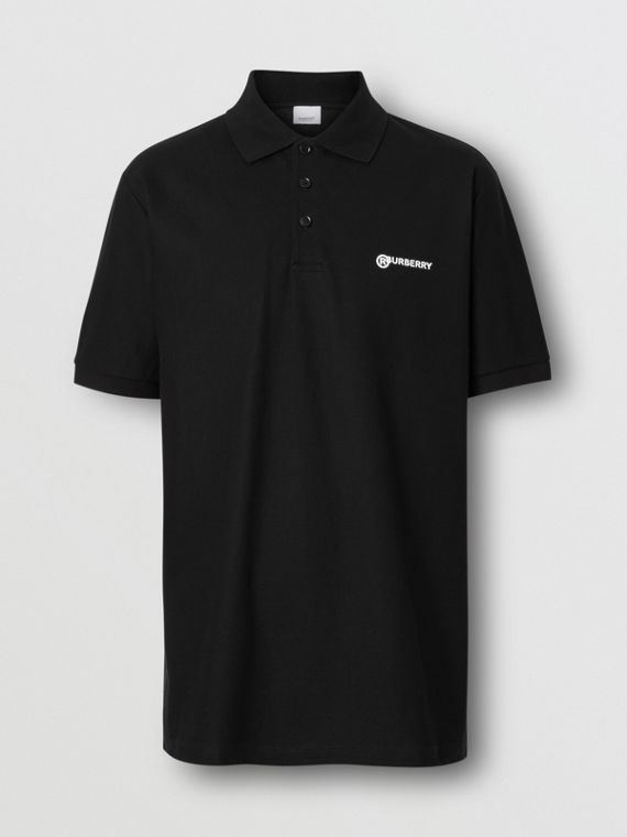 Location Print Cotton Piqué Oversized Polo Shirt in Black