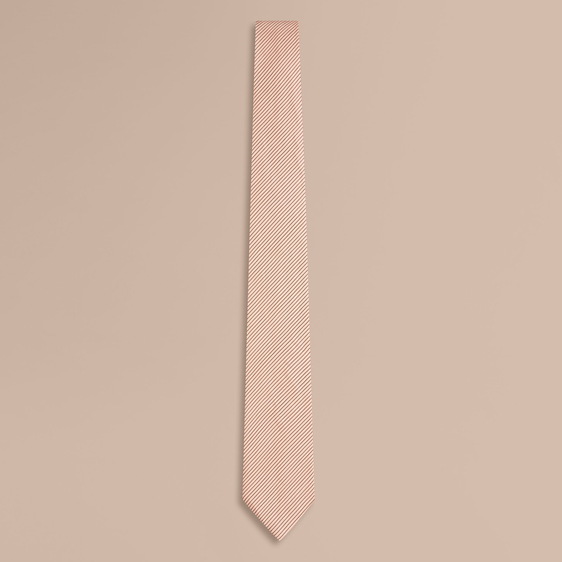 Chalk pink Modern Cut Striped Silk Linen Tie - gallery image 1