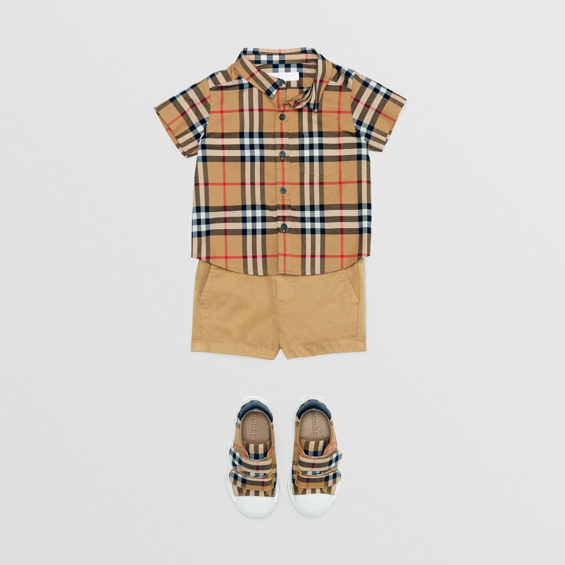 Cotton Chino Shorts in Taupe - Children | Burberry - gallery image 2